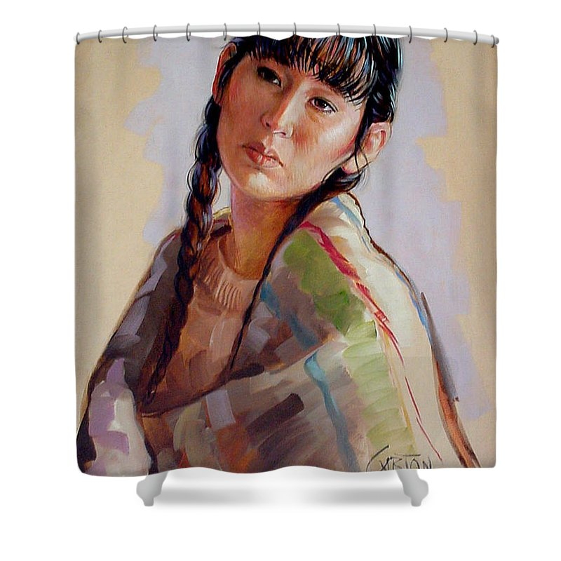 Sacajawea Shower Curtain featuring the painting Sacajawea  Study by Jerrold Carton