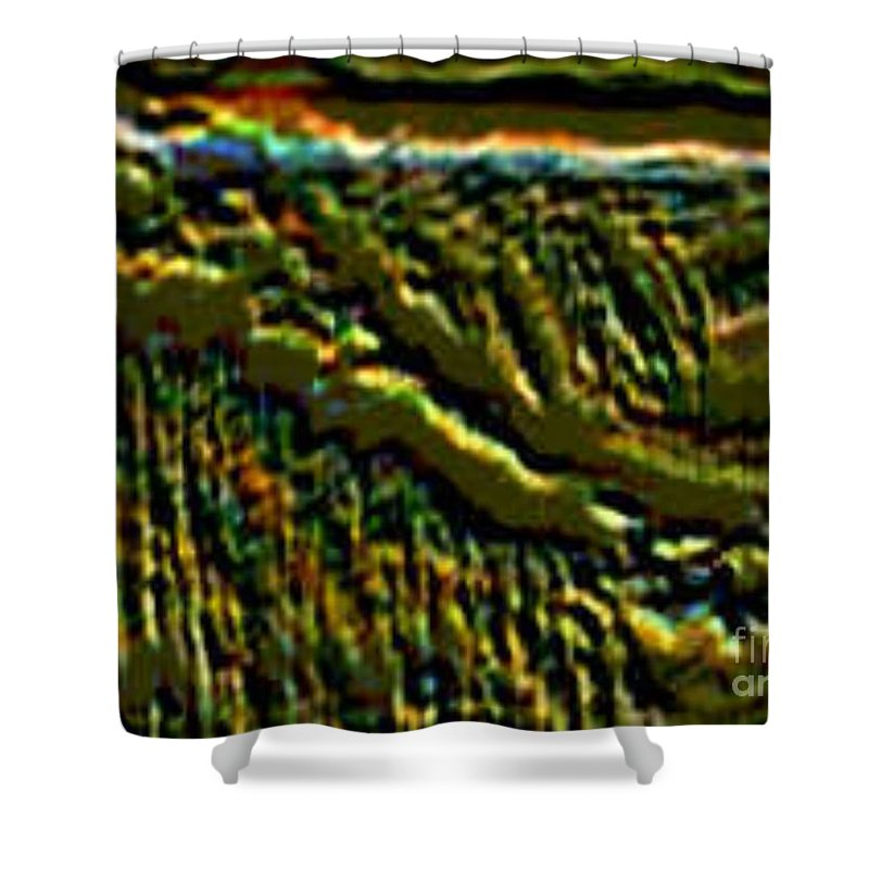 Canyons Shower Curtain featuring the digital art South Rim- N -green Grandeur by Brenda L Spencer