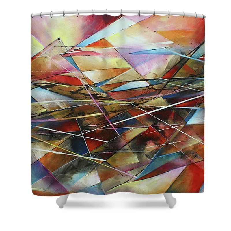 Abstract Shower Curtain featuring the painting ' Surface ' by Michael Lang