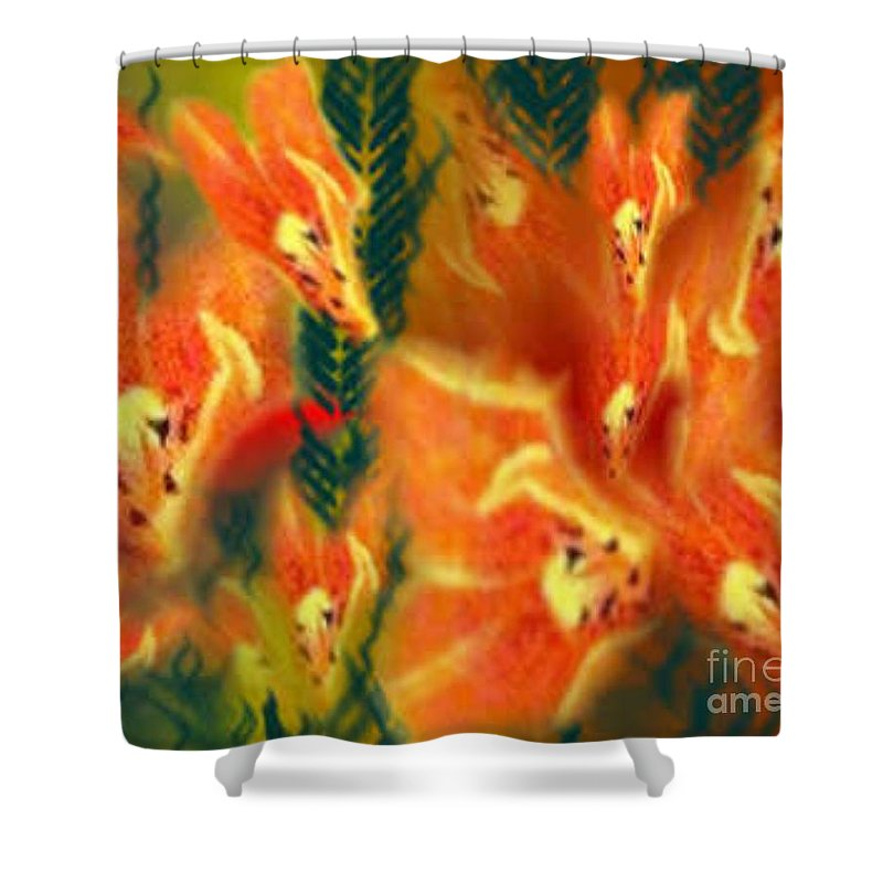 Florals Shower Curtain featuring the digital art Symphonic Dance by Brenda L Spencer