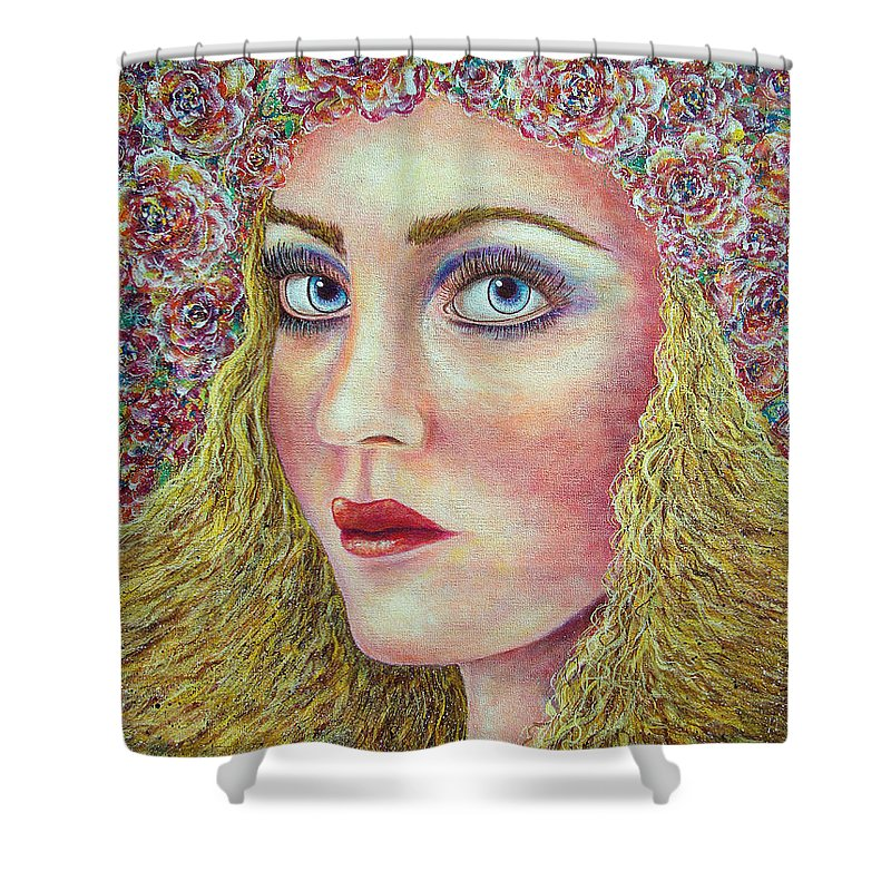 Woman Shower Curtain featuring the painting  The Flower Girl by Natalie Holland