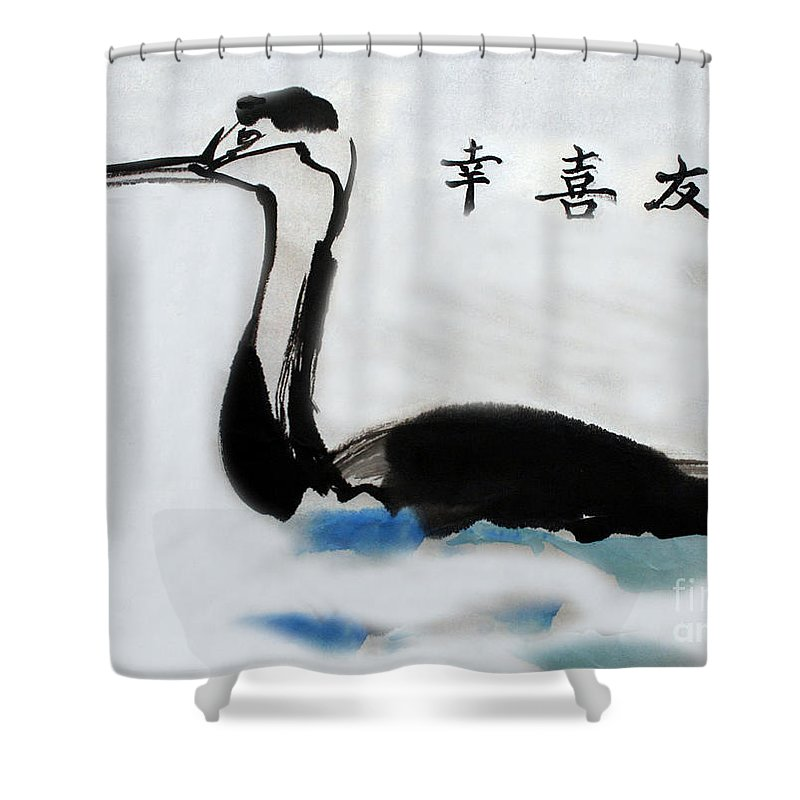 Sumi Ink Shower Curtain featuring the painting The Grebe by Lisa Baack