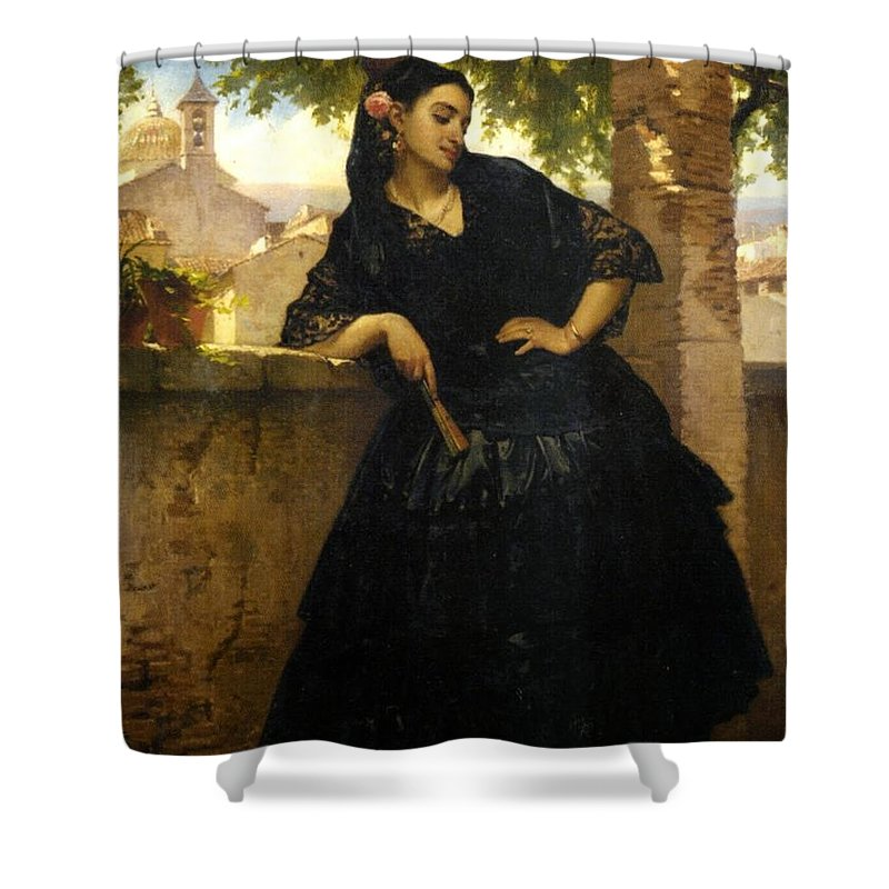 Pierre François Eugène Giraud - The Spanish Beauty With A Fan Shower Curtain featuring the painting The Spanish Beauty With A Fan by MotionAge Designs