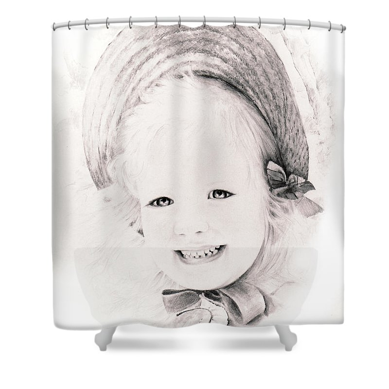 Portrait Shower Curtain featuring the drawing  Trudy by Rachel Christine Nowicki