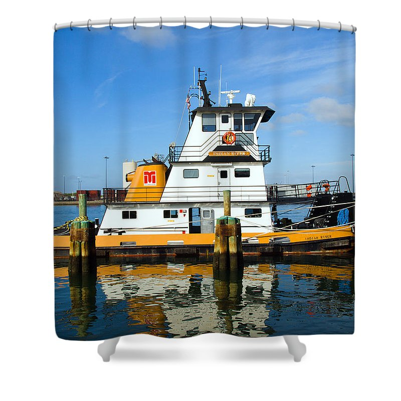 Florida; East; Space; Coast; Tug; Boat; Tugboat; Tow; Towboat; Pusher; Pushes; Push; Cargo; Fuel; Oi Shower Curtain featuring the photograph  Tug Indian River Is Part Of The Scene At Port Canvaeral Florida by Allan Hughes
