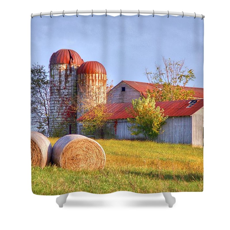 Barn Shower Curtain featuring the photograph Two by Mitch Cat