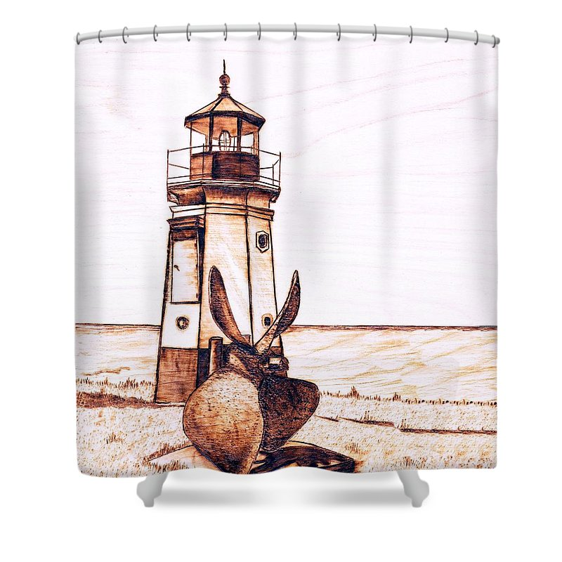 Lighthouse Shower Curtain featuring the pyrography Vermilion Lighthouse by Danette Smith