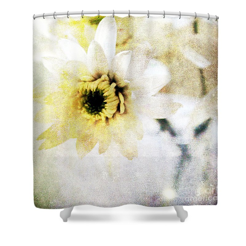 Flower Shower Curtain featuring the mixed media White Flower by Linda Woods