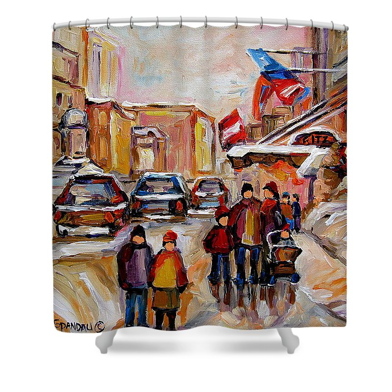 Montreal Shower Curtain featuring the painting Winter Walk In Montreal by Carole Spandau