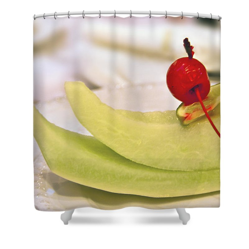 Cantaloupe Shower Curtain featuring the photograph ... With A Cherry On Top by Evelina Kremsdorf
