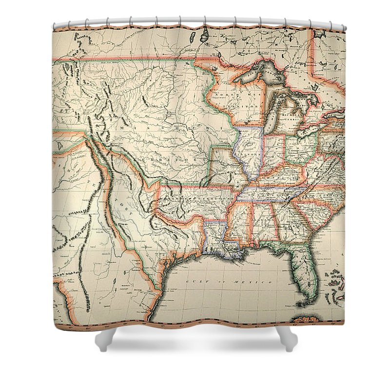 1820 Shower Curtain featuring the painting Map: United States, 1820 by Granger