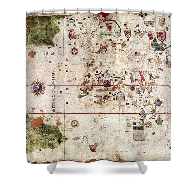 1500 Shower Curtain featuring the painting Nina: World Map, 1500 by Granger
