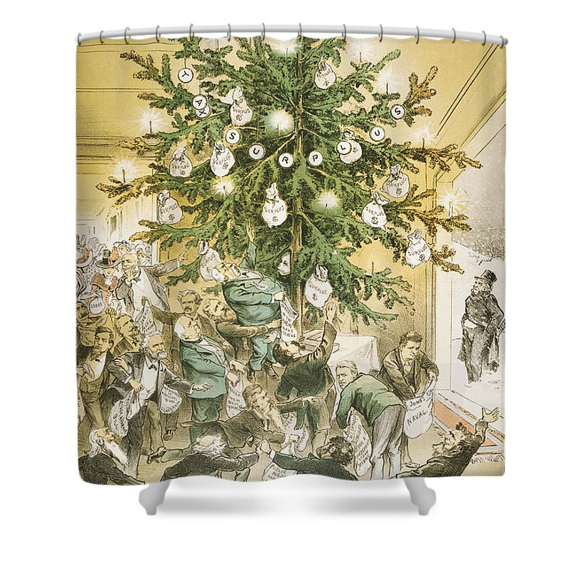 1883 Shower Curtain featuring the painting Treasury Cartoon, 1883 by Granger