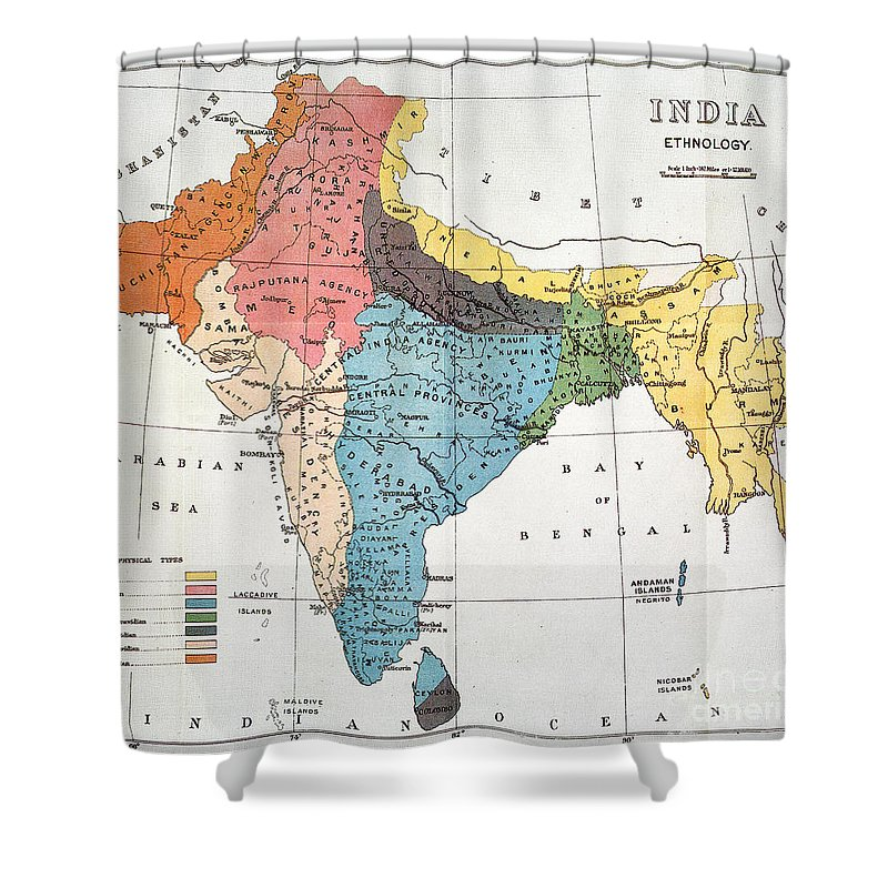Aod Shower Curtain featuring the painting India: Map, 19th Century by Granger