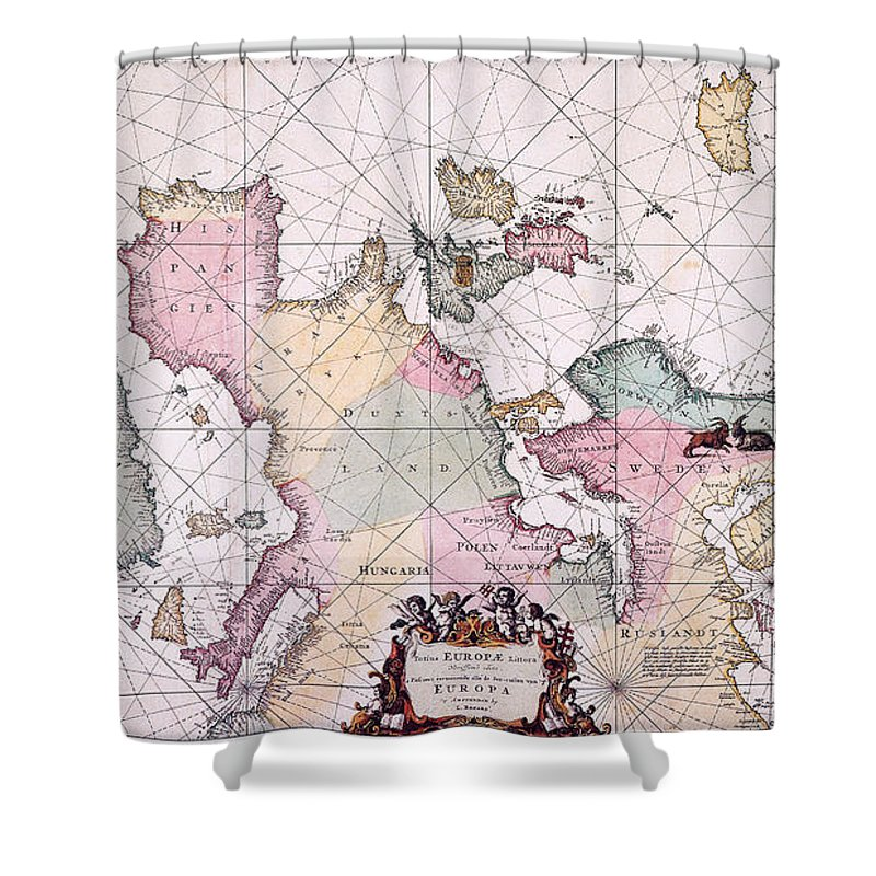 1715 Shower Curtain featuring the painting Map: European Coasts, 1715 by Granger