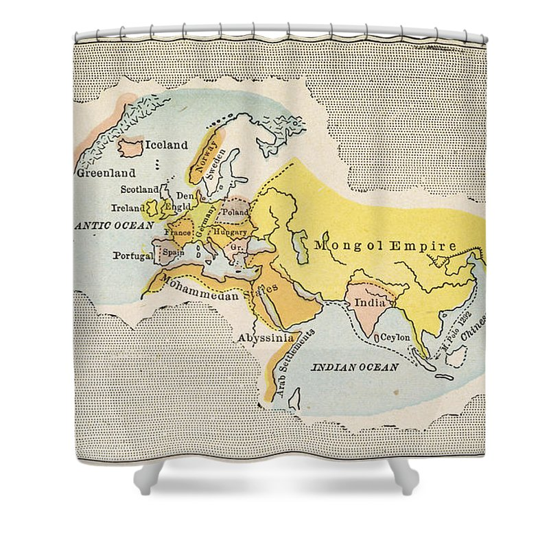 1300 Shower Curtain featuring the painting World Map, C1300 by Granger
