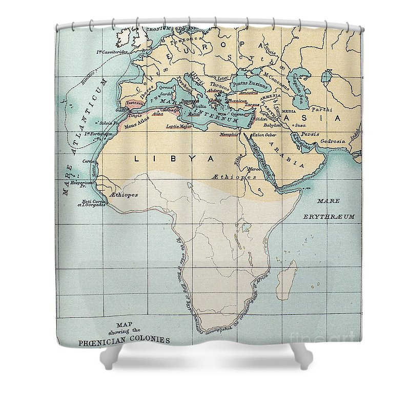 1st Millennium Bc Shower Curtain featuring the painting Map: Phoenician Empire by Granger