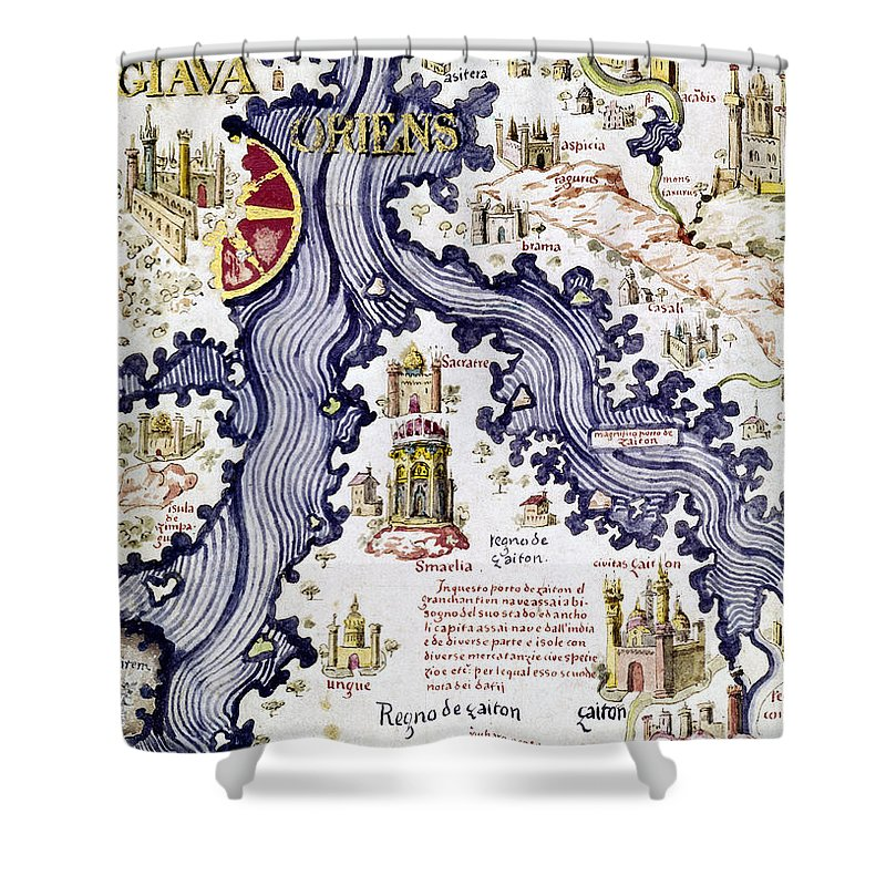 15th Century Shower Curtain featuring the painting Marco Polo (1254-1324) by Granger