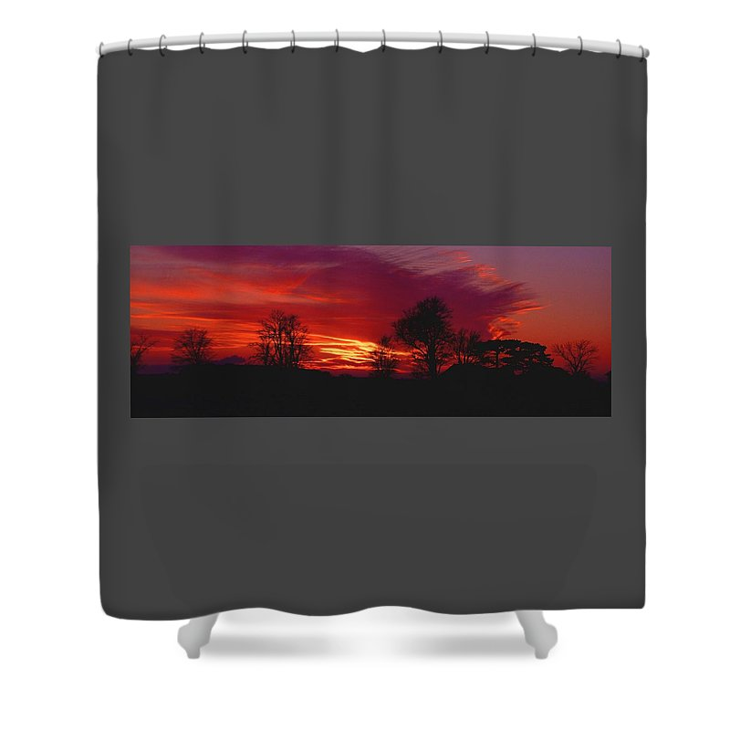 Sunset Shower Curtain featuring the photograph 022107-37 by Mike Davis