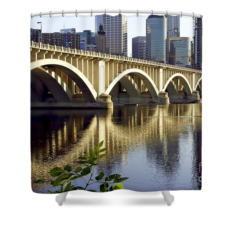 Scenic Shower Curtain featuring the photograph 0333 3rd Avenue Bridge Minneapolis by Steve Sturgill