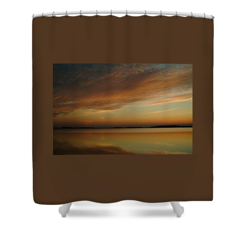 Sunset Shower Curtain featuring the photograph 060309-59  Reflections II by Mike Davis
