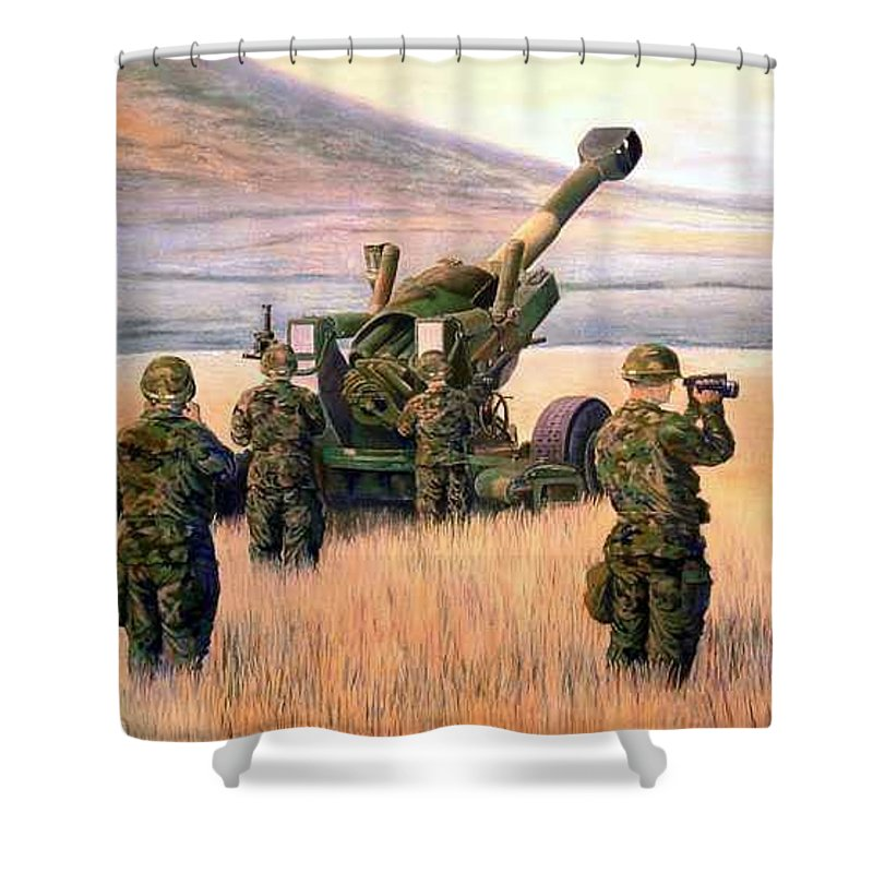 Signed And Numbered Prints Of The Montana National Guard Shower Curtain featuring the print 1-190th Artillery by Scott Robertson