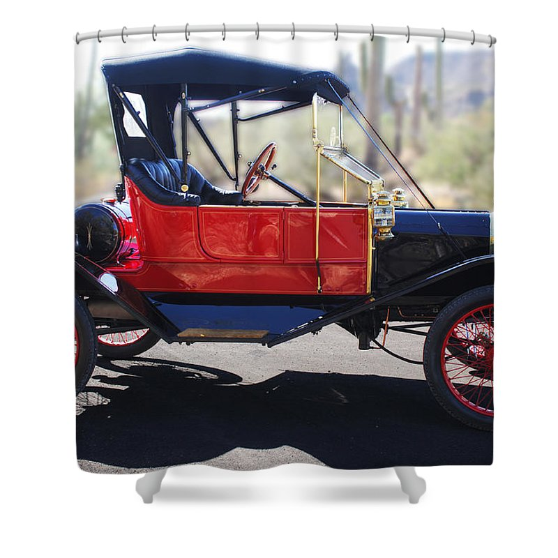 Horseless Carriage Shower Curtain featuring the photograph 1911 Ford Model T Torpedo by Jill Reger