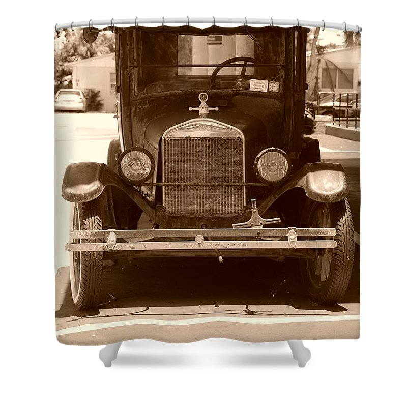 Sepia Shower Curtain featuring the photograph 1926 Model T by Rob Hans