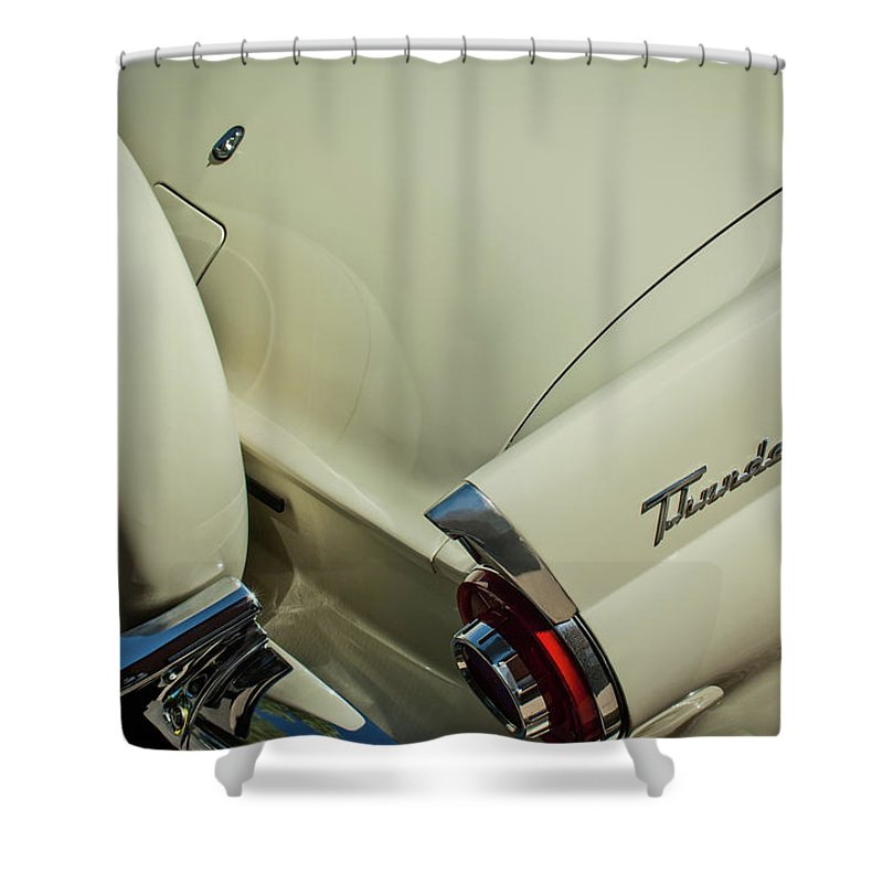 1956 Ford Thunderbird Shower Curtain featuring the photograph 1956 Ford Thunderbird Spare Tire by Jill Reger
