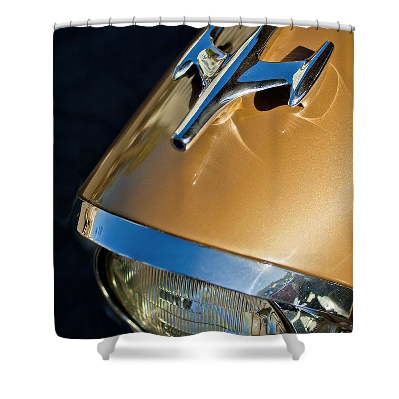 1957 Oldsmobile Super 88 Shower Curtain featuring the photograph 1957 Oldsmobile Super 88 Hood Ornament by Jill Reger