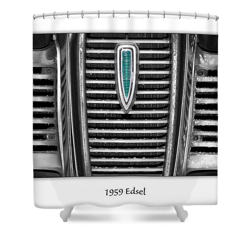 1959 Shower Curtain featuring the photograph 1959 Edsel by Onyonet Photo Studios