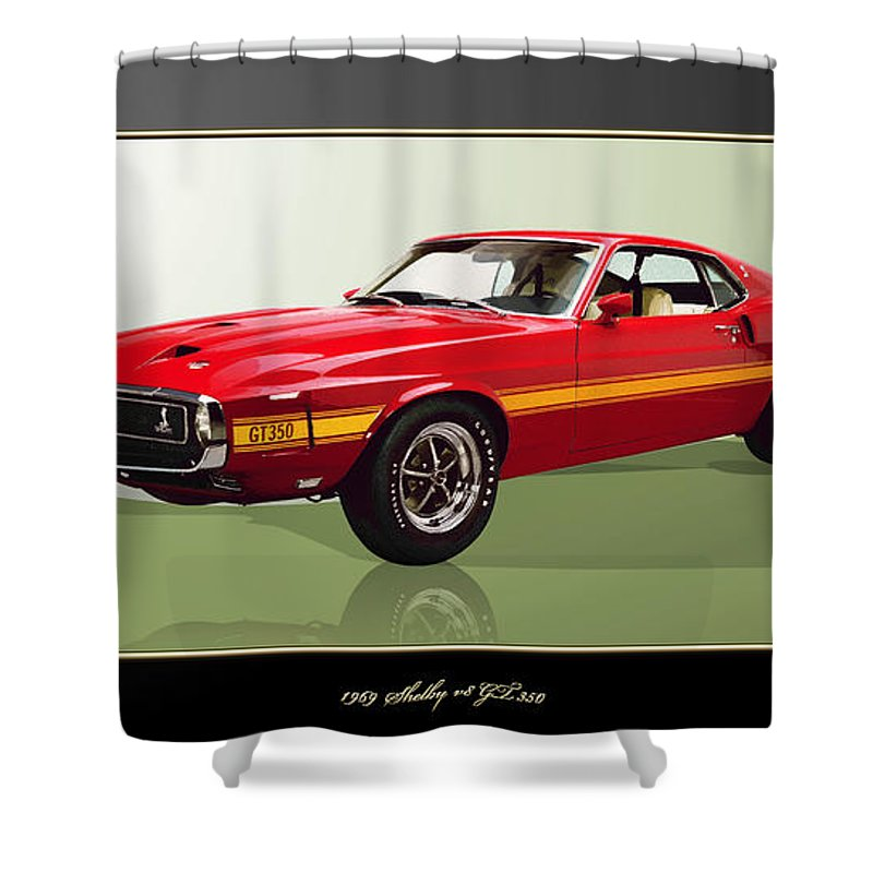Wheels Of Fortune By Serge Averbukh Shower Curtain featuring the photograph 1969 Shelby v8 GT350 by Serge Averbukh