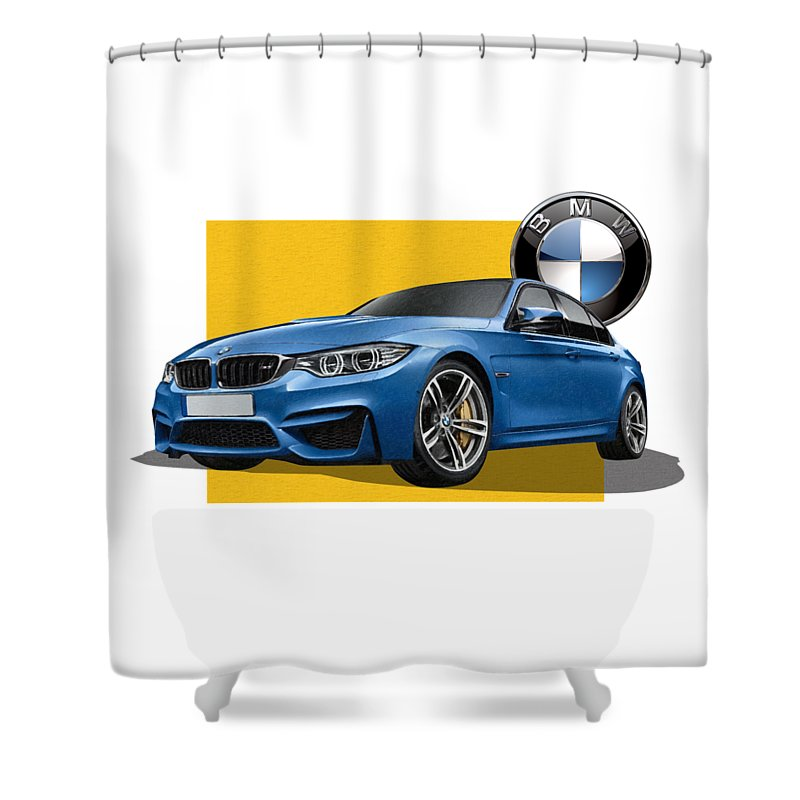 �bmw� Collection By Serge Averbukh Shower Curtain featuring the photograph 2016 B M W M 3 Sedan with 3 D Badge by Serge Averbukh