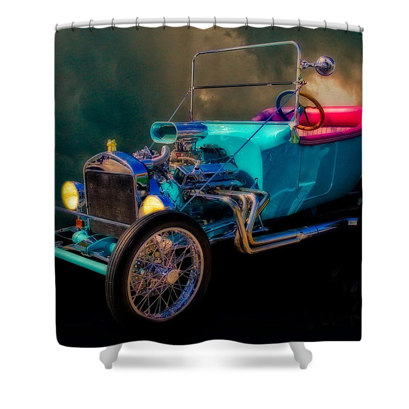 1923 Shower Curtain featuring the photograph 23 T Hot Rod In The Sky by Chas Sinklier