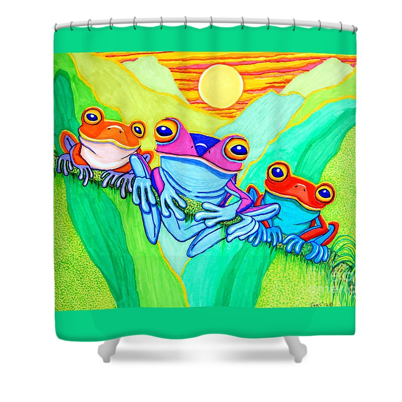 Frog Shower Curtain featuring the drawing 3 Little Frogs by Nick Gustafson