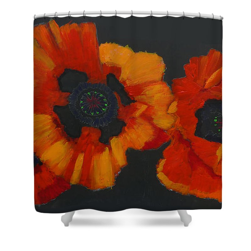 Flowers Shower Curtain featuring the painting 3 Poppies by Richard Le Page