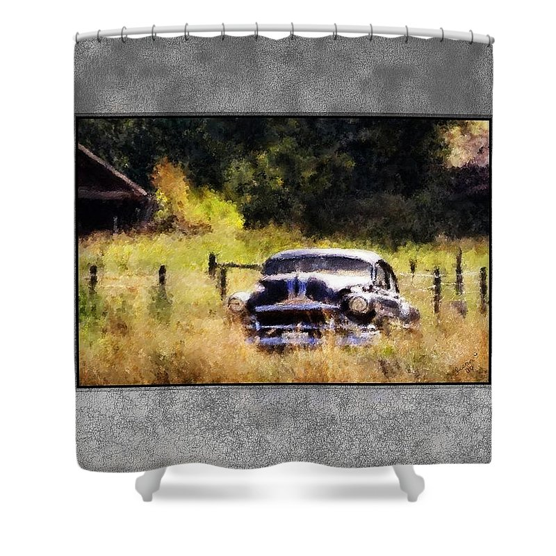 Old Cars Shower Curtain featuring the painting 53 Pontiac by Susan Kinney