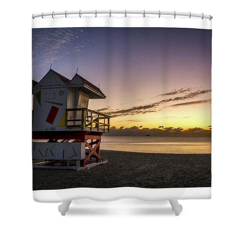 Florida Shower Curtain featuring the photograph 7901- Miami Beach Sunrise by David Lange