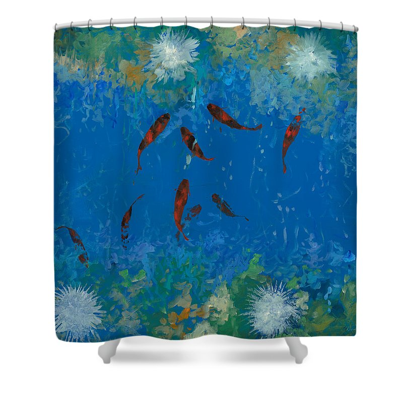 Fishscape Shower Curtain featuring the painting 9 Pesciolini Rossi by Guido Borelli