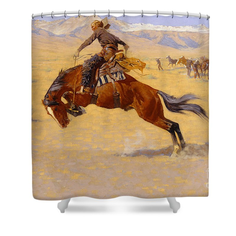 Cowboy; Horse; Pony; Rearing; Bronco; Wild West; Old West; Plain; Plains; American; Landscape; Breaking; Horses; Snow-capped; Mountains; Mountainous Shower Curtain featuring the painting A Cold Morning On The Range by Frederic Remington