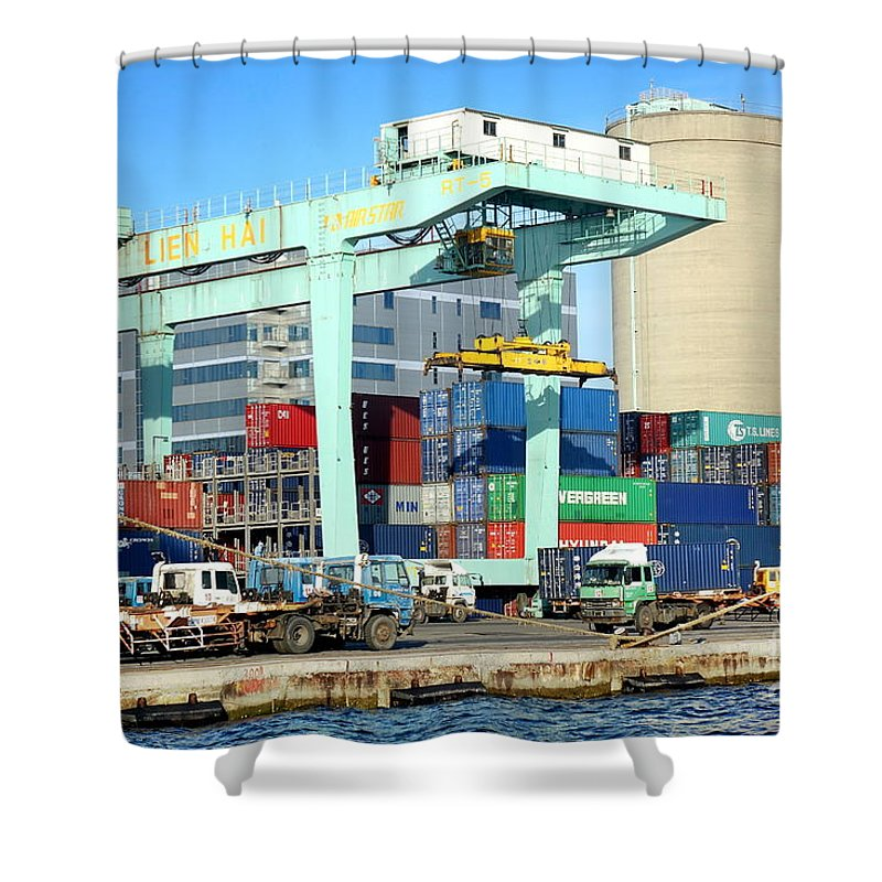 Taiwan Shower Curtain featuring the photograph A Container Is Loaded In Kaohsiung Port by Yali Shi