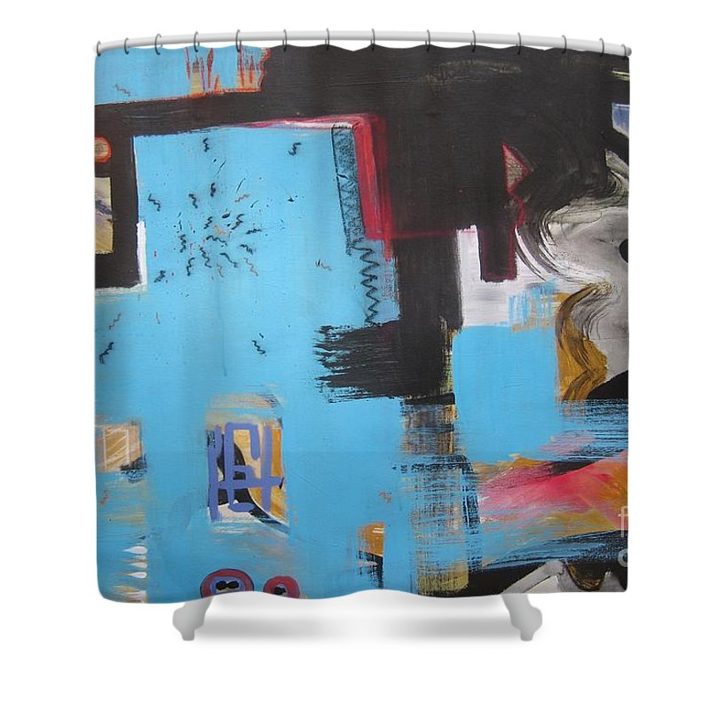 Abstract Shower Curtain featuring the painting A False Painting by Seon-Jeong Kim