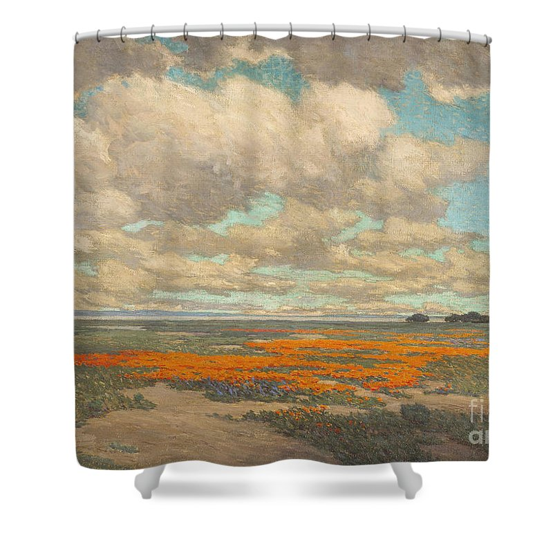 Granville Redmond - A Field Of California Poppies Shower Curtain featuring the painting A Field Of California Poppies by MotionAge Designs