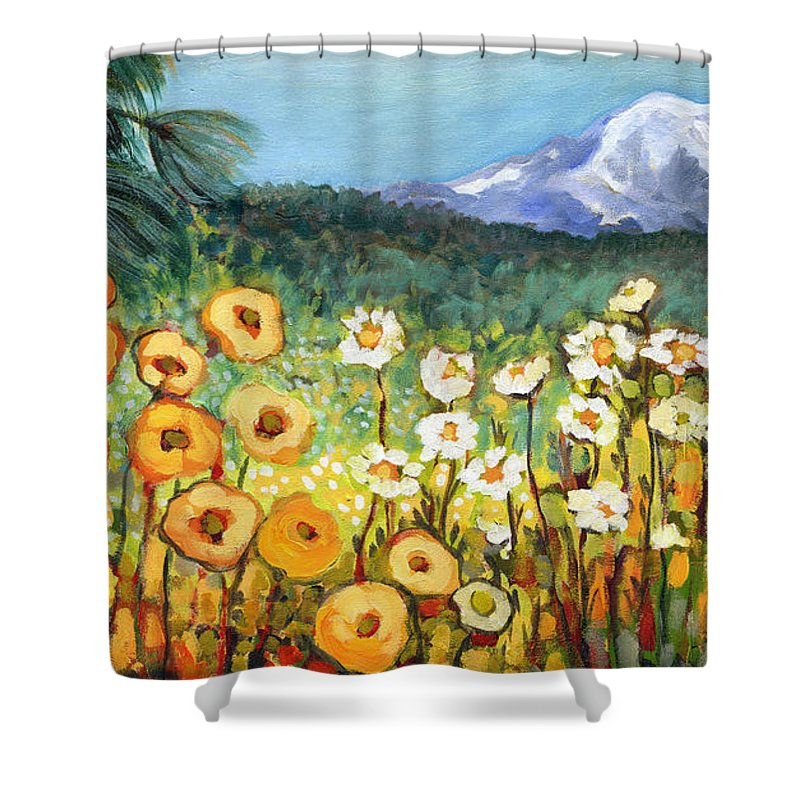 Rainier Shower Curtain featuring the painting A Mountain View by Jennifer Lommers