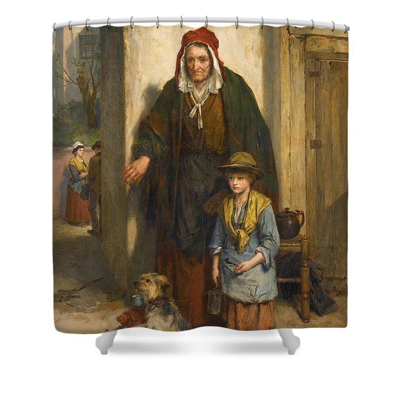 Thomas Faed Shower Curtain featuring the painting A Poor Beggar Bodie by Thomas Faed