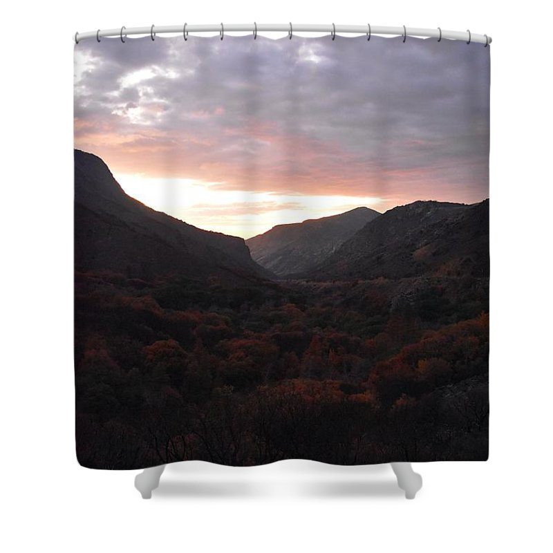 Altitude Shower Curtain featuring the photograph A Sunset View Through A Valley In The Southwest Foothills Of The Sierra Nevadas by Will Sylwester
