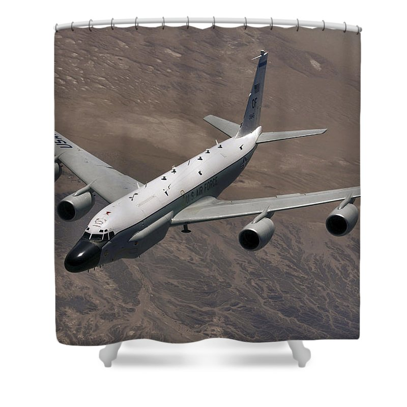 Kyrgzstan Shower Curtain featuring the photograph A U.s. Air Force Rc-135 Rivet Joint by Stocktrek Images