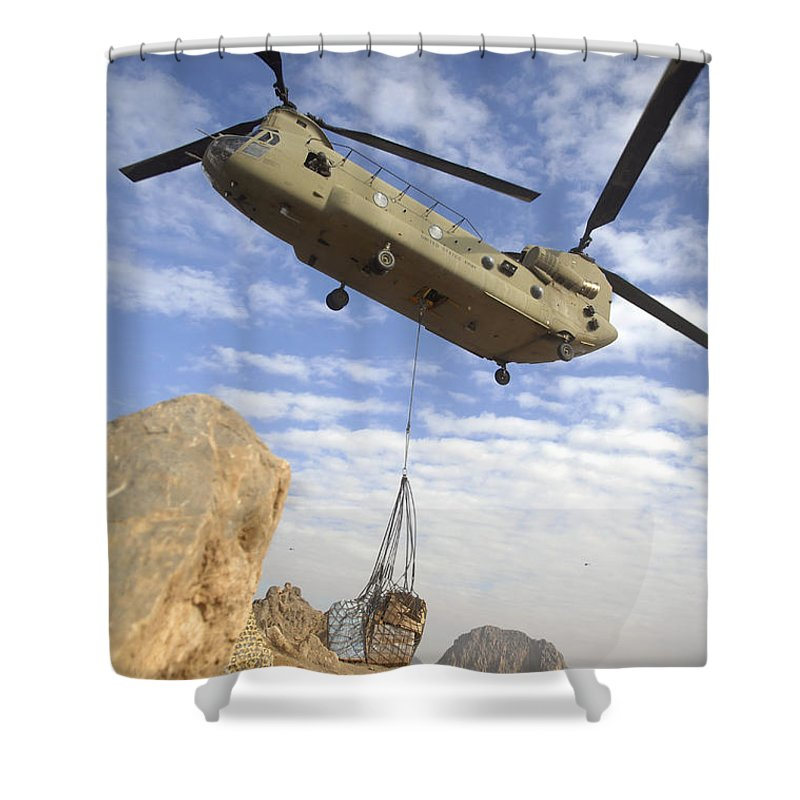 Afghanistan Shower Curtain featuring the photograph A U.s. Army Ch-47 Chinook Helicopter by Stocktrek Images