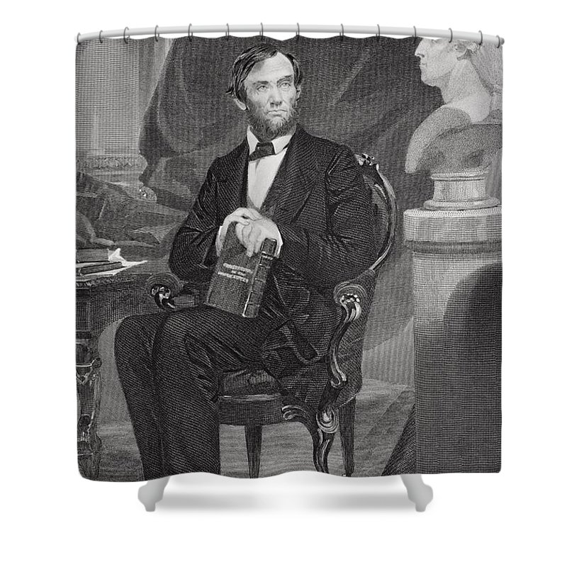 Abraham Shower Curtain featuring the drawing Abraham Lincoln 1809 65. 16th President by Vintage Design Pics
