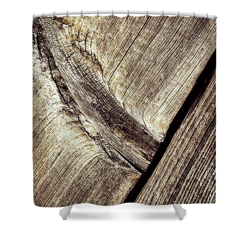 Old Shower Curtain featuring the photograph Abstract Detail Of A Wooden Old Board by Jozef Jankola